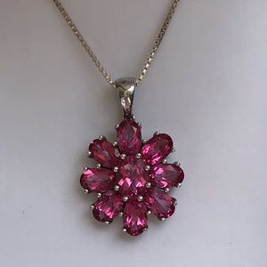 925 Natural Pink Tourmaline Cluster Necklace